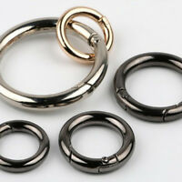 2x Alloy Round O Ring Hook Buckles Snap Clasp for Keychain Bag Strap Light Gold
