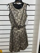 Nine West Dress Womens sz 6  Metallic Jacquard Paisley Belted A-Line Gold/Black