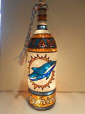 Miami Dolphins Inspired Bottle Lamp Handpainted Stained Glass Look Lighted