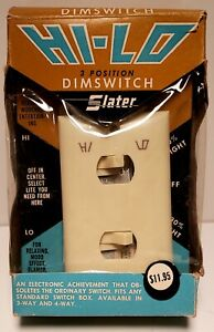 Vintage Slater HI-LO 3 Way Dimmer Switch &  Cover  New/Old Stock Madmen Era Look