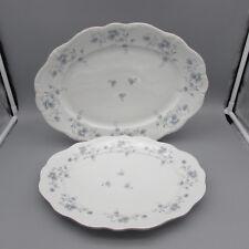 SET OF TWO - Johann Haviland Bavaria China BLUE GARLAND Oval Serving Platters