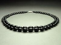 Vintage Czech Bohemian 2-Row Black Glass Oval Beads Graduated Necklace