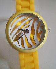 Fashion Zebra Print Jelly Silicone Yellow Girl's,Women's Quartz Wrist Watch