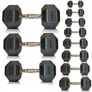 Viper Cast Iron Dumbbells 5kg - 20kg Hexagonal Rubber Weights Set Gym Fitness