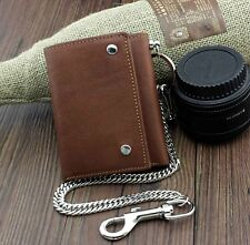 Men's Vintage Genuine Leather Trifold Slim Wallet with A Safe Chain