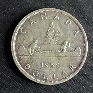 1955 Canada silver dollar in vintage coin flip - no reserve .99 cent auction