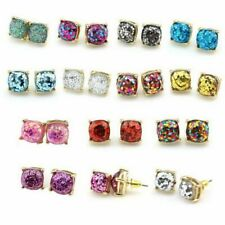 Square Dot Earring Glitter Stud Earrings Women Fashion Jewelry Gold Small Gifts