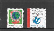 FRANCE 2006.CROIX-ROUGE.DESSINE TON VOEUX.LOT DE 2 TIMBRES GOMMES OBLITERES