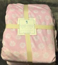 Pottery Barn Kids Flower Chamois Duvet Cover & Sham - F/Q, Pink
