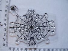 CLEAR RUBBER STAMP Odd Loose Cut Out Halloween Large Black Widow  Spider Web