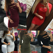 Women Sexy Solid Long Sleeve Evening Party Cocktail Pencil Clubwear Mini DressGT