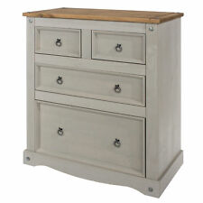 Premium Corona Grey Washed Pine Mexican Style 2+2 4 Drawer Chest Of Drawers
