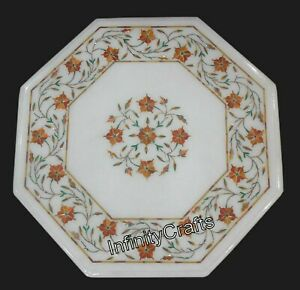 12 Inches White Coffee  Table Top Marble Bed Side Table with Pietra Dura Art