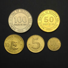 [B-4] Peru Set 5 Coins, 1 5 10 50 100 Soles De Oro, 1978-1983, A-UNC