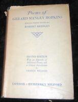 POEMS OF GERARD MANLEY HOPKINS-OXFORD- Bridges-1930 2nd ed-RARE DJ-HC
