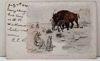 Buffalo Protecting Calf, Artist Charles Russell Illustrated 1906 Postcard C5
