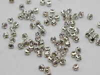 1440 Silver Clear Crystal Glass Rose Montees 3mm SS12 Sew on Rhinestones Beads