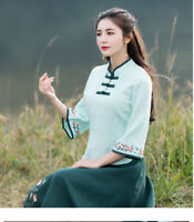 Women's Flower Embroidery Traditional Chinese Cheongsam Tops Shirts 3/4 Sleeve