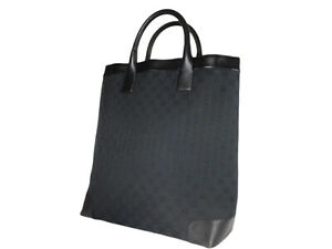 GUCCI GG Web Canvas Leather Black Tote Bag GH2582