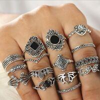 15pcs Silver/Gold Boho Stack Plain Above Knuckle Ring Midi Finger Tip Rings Set