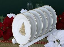 WILLIAMS-SONOMA GOLD CHRISTMAS TREE PLATES (SIX) –NWT- TRIM YOUR TABLE IN STYLE!