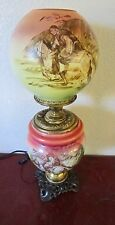 Antique Kerosene,Oil,Electrified GWTW,Hand.Painted Victorian Horse & Rider Lamp