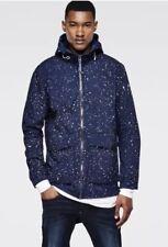 G Star Raw Landoh Military Navy Blue Large Jacket Hooded Paint Oceans Coat Field