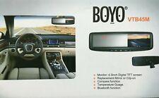 """BOYO VTB45M Rear View Mirror  4.3"""" MONITOR/SCREEN   Compass and Temperature"""