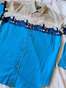 Men's Western Shirt USA Roper Vintage Wear The West Cowboys Horses Lasso Size XL