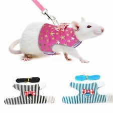 Small Pet Rabbit Hamster Bowtie Striped Star Harness Vest Leash Traction Rope