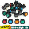20Pz Interruttore A Pulsante ON/OFF Luminoso LED 20A 12V Per Auto Moto Barca