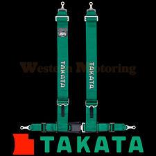 Takata Seat Belt Harness: Drift III 4-Point ASM - Green (Bolt-On) 70003US-H2