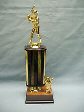 male BASEBALL trophy tall black award crossed bats and mitt  trim