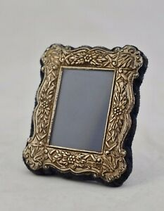 Vintage Nouveau-style English 925 sterling silver repousse small picture frame