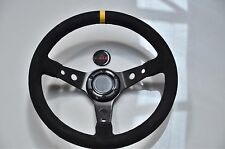 """STR Steering Wheel 2"""" Dished with Black Suede, Centre Yellow Tab. Drifting Rally"""