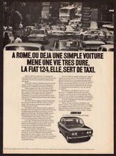 1972 FIAT 124S Vintage Original Print AD Black car photo French Canada Rome taxi