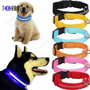 Pets Dog Collars Nylon LED Light USB Recharge Night Safety Light-up ATF