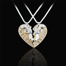 2Pcs/Set  Friendship Pendant Necklace Broken Heart Pistol Gun THELMA LOUISE
