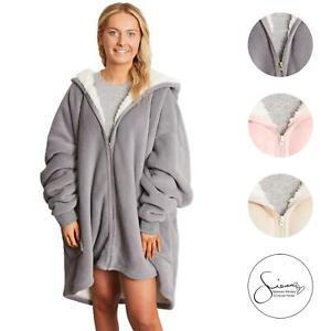 Sienna Oversized Sherpa Fleece Zip Up Wearable Hooded Soft Sweatshirt Jumper UK