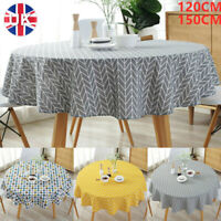 Round Cotton Table Cloths Linen Cover Party Tableware Desk Home Kitchen Decor UK