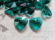 20 x verre cristal facette coeur loose beads 14mm charm/pendentif spacer vendeur britannique