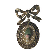 """Vintage 1928 Gold Tone 1.75"""" Drop Dangle Brooch / Pin w/ Faux Micro Pearls & Bow"""
