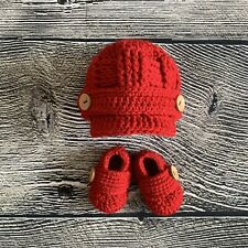 Newborn Baby Boy Hat and Booties Crochet Infant Photo Prop Outfit Gift