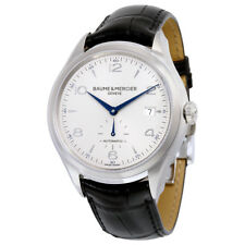 Baume And Mercier Clifton Silver Dial Black Leather Automatic Mens Watch 10052