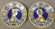 Deruta Pottery-2 Plates Of 10,1/2in. Dame And Knight-Made/Painted by hand Italy