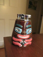 vintage old pottery figural totem pole table lighter NW coast look