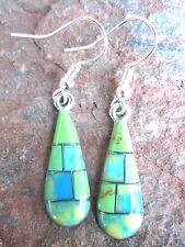 Stone Inlay Handcrafted Small Earrings Made in Mexico Fair Trade NEW e2091