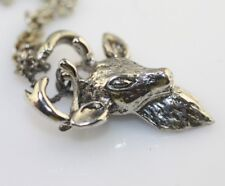 Vintage silver tone deer Buck antered pendant charm necklace detailed