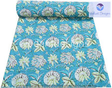 Indian Embroidery Kantha Quilt Bedspread Floral Throw Cotton Blue