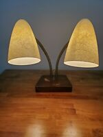 1950's Mid Century Modern Double Goose Neck Cone Fiberglass Desk Lamp wood base